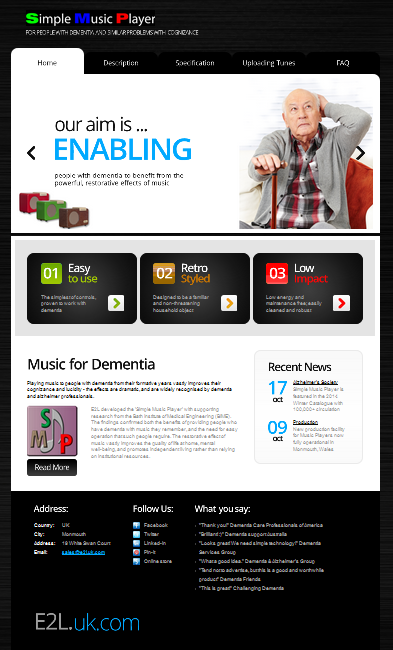 simple music player website www.dementiamusic.co.uk